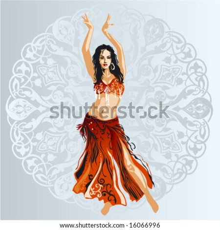 Bellydancer With Ornamental Background - stock vector