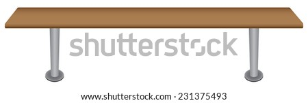 Bench for locker rooms and gyms. Vector illustration. - stock vector