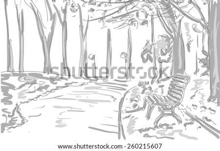 bench, lights, trees in the park, draw graphic design. vector illustration - stock vector