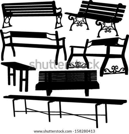 bench silhouette 1 - vector - stock vector