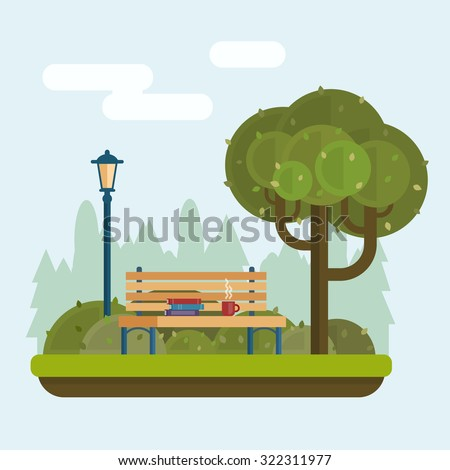 Bench with cup and books under a tree in the park. Flat style vector illustration. - stock vector
