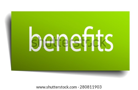 benefits green paper sign on white background - stock vector