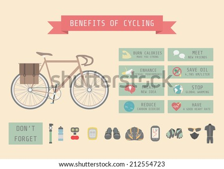 benefits of cycling bicycle, infographic, flat style - stock vector