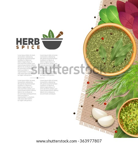 Benefits of herbs and spices in cooking informative poster with text mortar and pestle symbol flat vector illustration   - stock vector