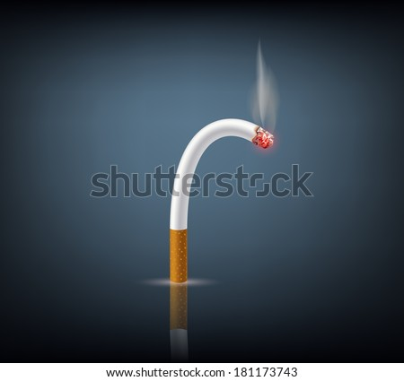 bent cigarette meaning impotence - stock vector
