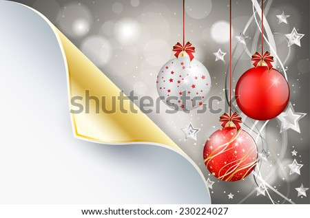 Bent paper and shiny christmas background with christmas balls - place for your text. Vector illustration. - stock vector