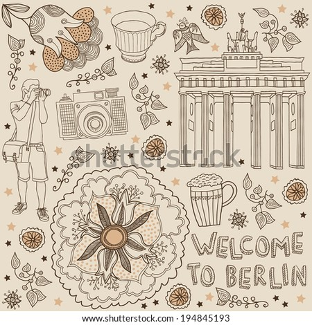 Berlin. Vector illustration with text. Welcome to Berlin - stock vector