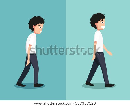 Best and worst positions for walk, illustration, vector - stock vector