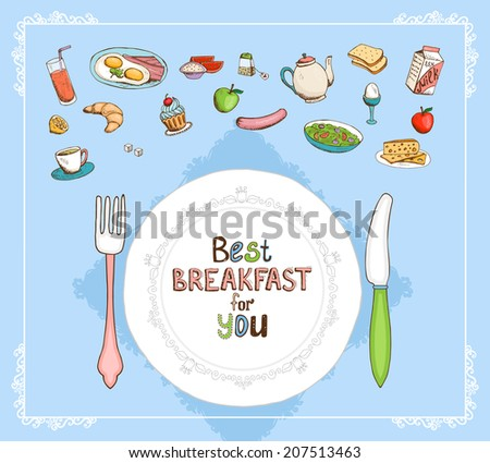 Best Breakfast For You elements set with a place setting with plate and cutlery and a selection of food icons with juice  eggs  tea  milk  cereal  apple  sausage  croissant  muffin and toast - stock vector