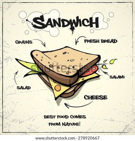 Best cartoon sandwich for your design. Vector EPS 10 - stock vector