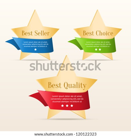 Best choice, best quality, best seller - golden stars with color ribbons - stock vector