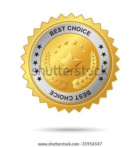Best choice golden label. - stock vector