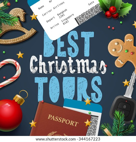 Best Christmas tours, winter vacations travel, holidays, vector illustration. - stock vector