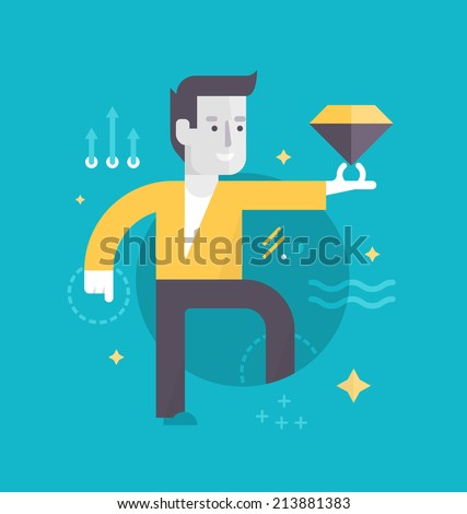 Best customer experience. Happy man with a diamond represents perfect customer experience he has gotten. Concept of customer care in business - stock vector