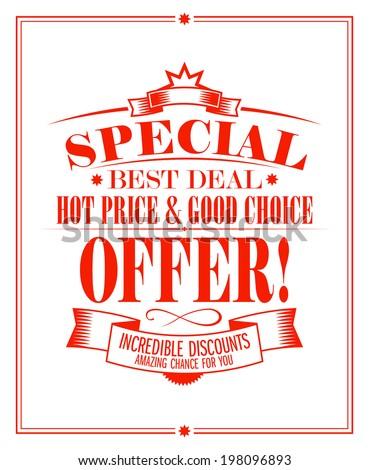 Best deal sale design template. - stock vector