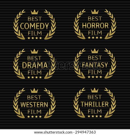Best film award icon set. Golden laurel wreaths - stock vector