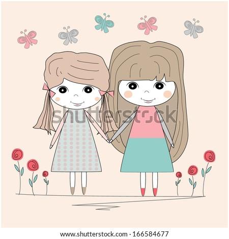 Best Friends Girls Stock Vectors & Vector Clip Art | Shutterstock