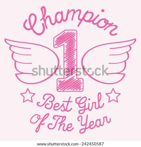 Best girl sport typography, t-shirt graphics,vectors - stock vector