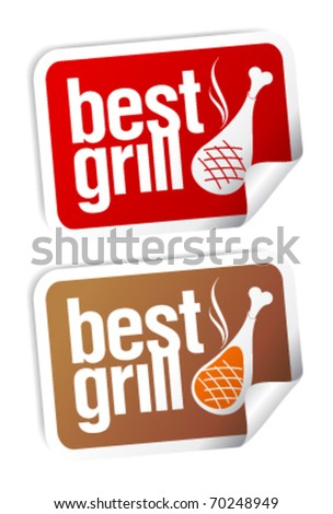 Best grill food stickers set. - stock vector