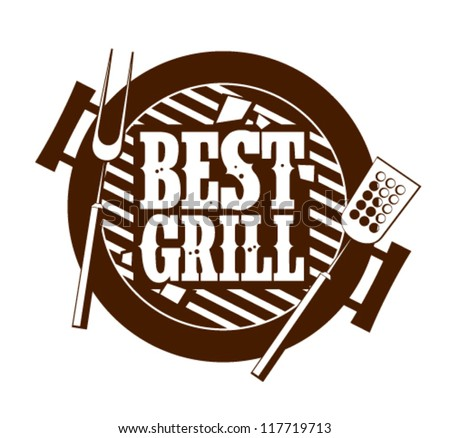 Best grill icon. - stock vector