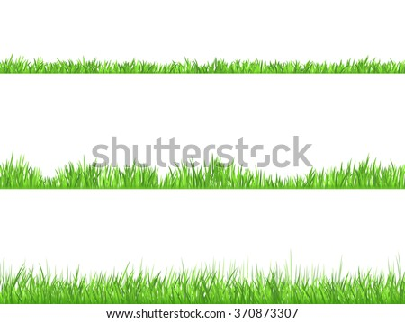 Best looking lawn 3 ideal grass heights for mowing flat horizontal banners set abstract isolated  vector illustration - stock vector