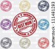 Best Mom set of stamps - stock vector