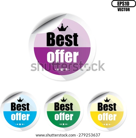 Best offer colorful with crown and stars badge label, sticker, tag and sign on white background. Vector illustration. - stock vector