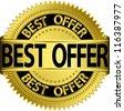 Best offer golden label, vector illustration - stock vector
