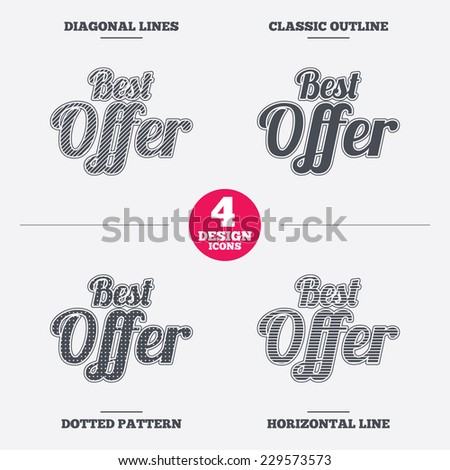 Best offer sign icon. Sale symbol. Diagonal and horizontal lines, classic outline, dotted texture. Pattern design icons.  Vector - stock vector