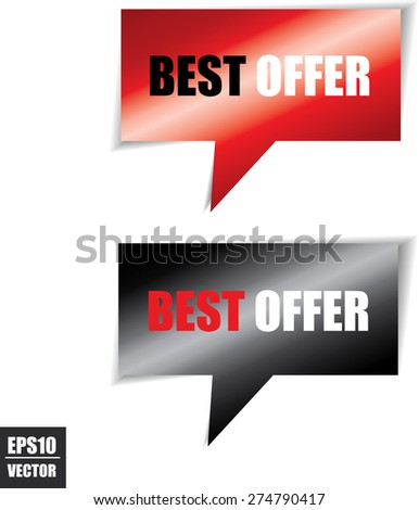 Best offer speech bubbles square template | business banner with symbol icon - Vector. - stock vector