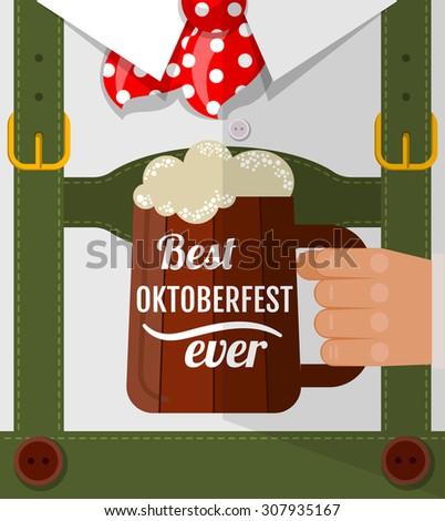 Best Oktoberfest ever, Oktoberfest man with beer mug congratulation. Postcard flat design.  - stock vector