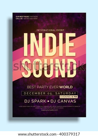 Best Party Flyer, Musical Party Template, Party Banner design with date and time details. - stock vector