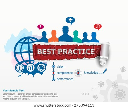 Best practice concept and group of people. Set of flat design illustration concepts for business, consulting, finance, management, career, human resources.   - stock vector