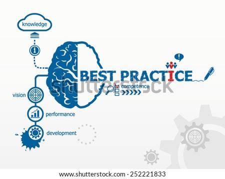 Best practice concept. Hand writing Best practice with blue marker - stock vector