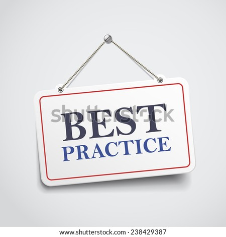 best practice hanging sign isolated on white wall  - stock vector