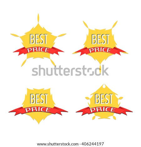 Best price guarantee banners Set 4 images, business icons, Labels Stickers Banners Tags Banners vector design collection. Web Stickers,,New offer,Vector illustration.Sale. Discount origami Banners.  - stock vector