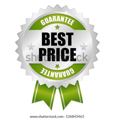 Best price guarantee button green - stock vector