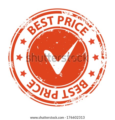 Best price guarantee rubber stamp with tick symbol icon isolated on white background. Vector illustration - stock vector