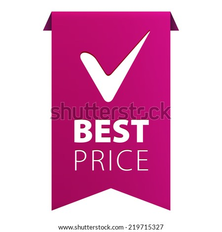 Best Price tag ribbon banner icon isolated on white background. Vector illustration - stock vector