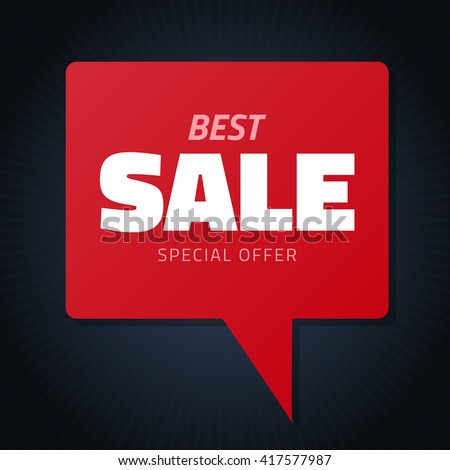 Best sale red hamd drawn speech bubble for design, vector doodle isolated discount tag black banner - stock vector