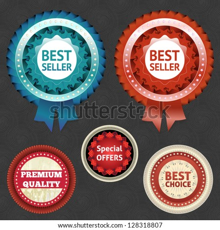 Best Seller and Choice Labels with Ribbon. eps 10 - stock vector