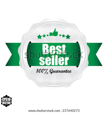 Best Seller Award Symbol, Sign, Icon,Label And Tag With Stars Stickers. Certificate Emblem Labels. Vector Badge With Green Ribbon. - stock vector
