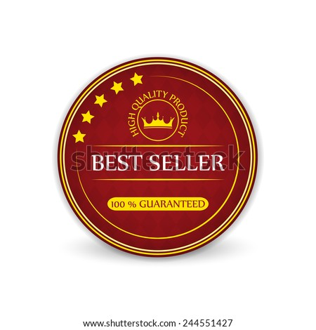 Best seller guaranteed vector label with royal crown - stock vector