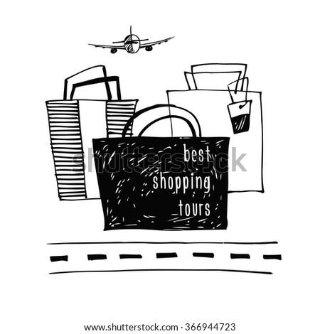 Best  shopping tour design template.  Stylish poster sketch design about travel and shopping. Hand drawn bags. - stock vector