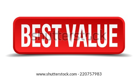 best value red three-dimensional square button isolated on white background - stock vector