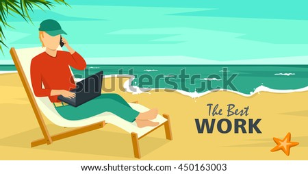 Best Work Concept Beach Summer Sea Background with Man and Laptop - stock vector
