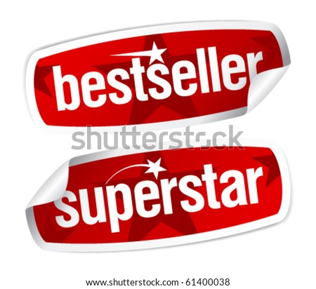 Bestseller and superstar stickers set. - stock vector