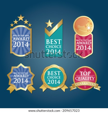 Bestseller Guaranteed Labels Badges in blue green pink - stock vector