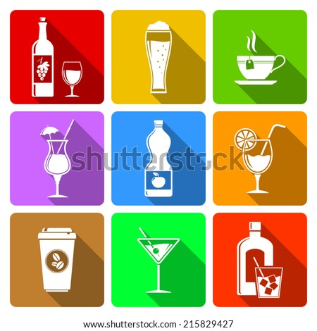 Beverage flat icons with long shadow - stock vector