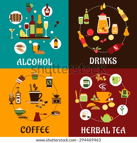 Beverage icons in flat style with alcohol and non alcohol drinks, food, herbal tea and coffee with colored iingredients, tablewares and snacks - stock vector